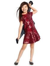 Gap Kids Girl's Holiday 2016 Cranberry Red Sequin Drop Waist Dress Size L 10 NWT