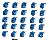 20x Cat5e RJ45 Punch Down Network LAN Snap-in Slim Keystone Insert Jack Blue
