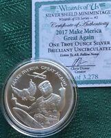 Wizards of US # 2 - 1 oz 2017 Make Merica Great Again B.U. TRUMP Silver Shield