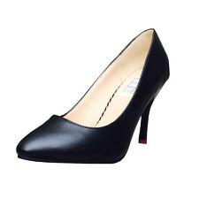 Elegante Mujer Tacones 36 NEGRO MATE Zapatos Mujer Efecto Cuero Boda