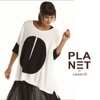 PLANET by Lauren G  456K  PIMA Knit THE PILL SWEATER Boxy SS 2018 BLACK or WHITE