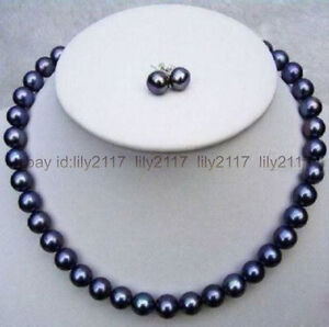 Superb 8-9mm south sea natural black pearl necklace 18 inches earrings Set