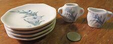 Vintage Dollhouse Miniature Tea Set Pieces 4 Plates & Creamer/Sugar Set