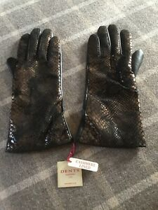 Dents Ladies Black Leather Gloves With Bronze Croc Pattern Size 8 Large BNWT