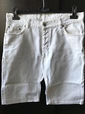 Helmut Lang Men White Denim Shorts