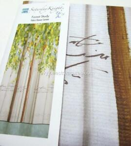 Designer Bath Shower Curtain FOREST STUDY Lodge Cabin Woodland and Tree Theme