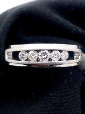 New DIAMOND WEDDING BAND 14K Solid White GOLD 5-STONE 0.34TCW H-I/SI1-2 size 7