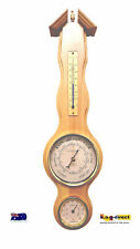 WOODEN WEATHER STATION BAROMETER THERMOMETER & HYGROMETER WOOD MATTE PINE (H)