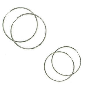 Large Hoop 925/Silver Wire Creole 40 Or 50 MM Earring with Pattern New