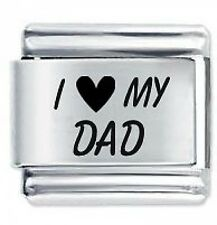 I LOVE MY DAD - 9mm Daisy Charms by JSC Fits Classic Size Italian Charm Bracelet