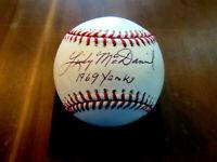 LINDY MCDANIEL 1969 YANKS NEW YORK YANKEES SIGNED AUTO OML BASEBALL JSA SGC