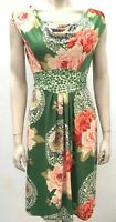 Phase Eight UK 10 Green floral roses shift dress cowl neck party swing tea
