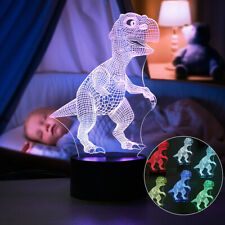 3D Dinosaur USB 7 Color Change LED Night Light Desk Table Lamp Christmas Gift US