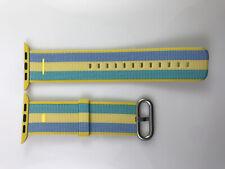 Original OEM Apple Watch Woven NYLON Band Silver buckle 42MM 44MM Pollen Stripe