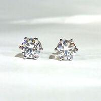2 Ct Round Cut VVS1 Diamond Solitaire Womens Stud Earrings 14K White Gold Finish