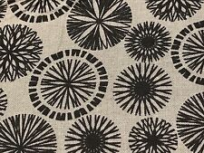 Fabric Spiral Flower Rounds Outlined Black on Grey Cotton 1/4 Yard