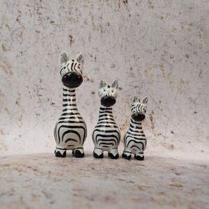 Zebra Family Set of 3 Super Cute Ornament Figure Wooden