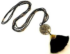 Tree of Life Black Tassel Long Dangle Pendant with Black & Gold Beads # B59