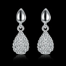 Diamond 925 Silver Plated Drop Earrings Swarovski Elements Crystal Heart Pandent