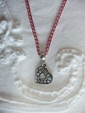 Rhinestone Heart-shaped Charm on either a Silver, Pink, or Red Chain Necklace