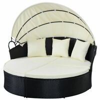 Outdoor Patio Sofa Furniture Round Retractable Canopy Daybed Wicker Rattan Black