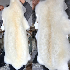 65*125cm Wool BEIGE Genuine Sheepskin Lambskin Sheep Skin Fluffy Fur Rug Pelt