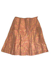 Lafayette 148 size 14 skirt a-line pleated 100% silk coral orange gold