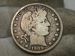 1909 Fine Barber Half Dollar. #37