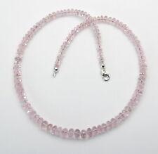 Morganit Kette Rosa Beryll Rondelle als Halskette in 47,5 cm Länge