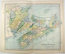 Original 1893 Map of the Maritime Provinces of Canada by Dodd Mead & Company