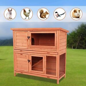 Wooden Rabbit Hutch Pet Cage Outdoor Backyard Chicken Coop Bunny House with Ramp