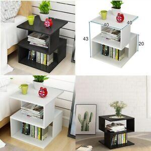 Coffee Tea Beside Table Storage Shelf Square Side Lamp Desk Nightstands Decor
