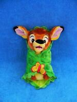 Disney Babies Bambi Baby Doll Plush w/Green Leaf Velvet Butterfly Blanket Mint