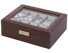 Orbita Roma 10 Watch Case Glass Top Display Storage Box Brown Leather W93009