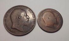 1906- British Edward One Penny & 1908- Edward British Anna India One Quarter.