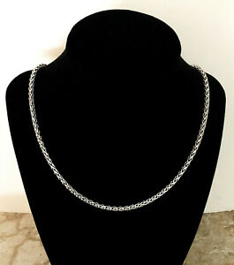 4mm Wheat Silver Color Shiny Stainless Steel Curb Spiga Chain Necklace Jewelry