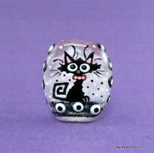 """""""LILLY OF THE VALLEY"""" a handmade lampwork glass SWEET CAT focal bead byKayo SRA"""
