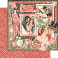 Graphic 45  2 sheets Mon amour Collection mon amour, double side
