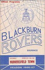 BLACKBURN ROVERS v HUDDERSFIELD TOWN 66-67 LEAGUE MATCH