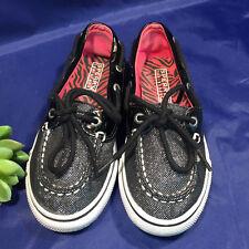 Sperry Top Sider BISCAYNE 1 Eye Black Sparkle Shimmer Girls 13.5 M Boat Shoe