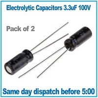 Electrolytic Capacitor 3.3uF 100V 105 Deg C. (Pack of 2)