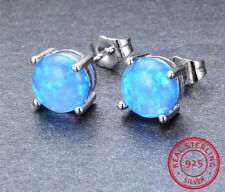 Women Classic 925 Sterling Silver Round Cut Blue Fire Opal Stud Earrings HOT