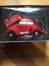 Crate Barrel Dept 56 JUMBO Mercury Glass Red VW Car Christmas Wreath Ornament
