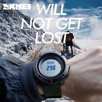 Hot SKMEI Compass Watch LED Waterproof Military Quartz Analog Wristwatches HF