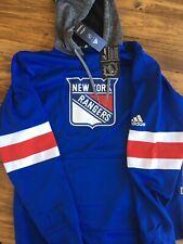 Men's Adidas New York Rangers Blue Platinum Jersey Pullover Hoodie Sweatshirt