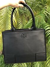 Tory Burch Ella Large Black Canvas and Leather Tote bag Authentic and NWT