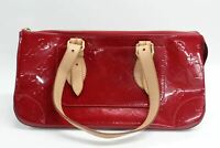 LOUIS VUITTON Ladies Monogram Red Patent Leather Handbag Double Brown Straps