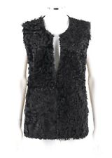 ALLUDE Black Genuine Lamb Fur Wool Cashmere Knit Back Crew Neck Jacket Vest Sz L