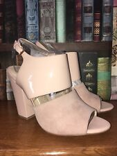 New Suede Patent Leather Shoes NINE WEST Size 7/40 Nude Pink Mod 50 60s Look