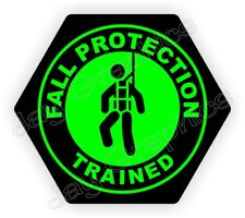 Fall Protection Trained Hexagon Hard Hat Sticker | Safety Harness Helmet Decal